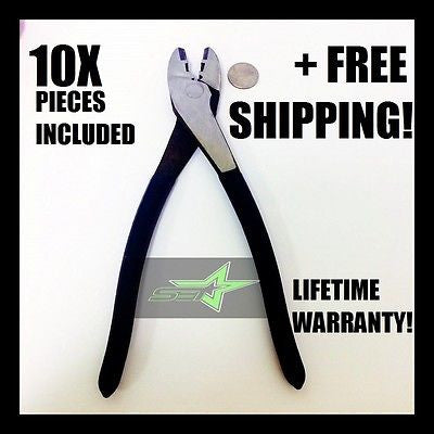 "Set Of (10) Electrical Crimping Pliers 9.5"" Inch Long For Best Torque 