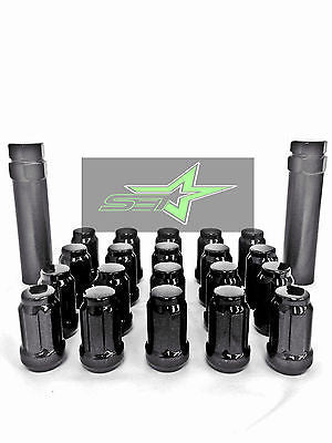 24 BLACK 6 SPLINE LUG NUTS + KEY | 12X1.5 | FITS TOYOTA FJ TACOMA TUNDRA 4RUNNER - Set Group USA - 1