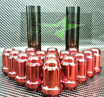 24 Red Spline Lug Nuts +2 Keys | 12X1.5 | Fits Toyota Fj Tacoma Tundra 4Runner - Set Group USA - 1