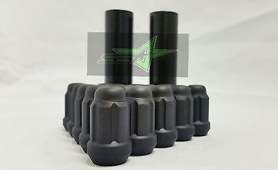 20 Matte Black Spline Tuner Racing Lug Nuts + 1 Key | 12X1.5 | Fits Honda Acura - Set Group USA - 1
