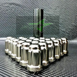 24 Black Chrome 6 Spline Lug Nuts +Key | 12X1.5 |Toyota Fj Tacoma Tundra 4Runner - Set Group USA - 2