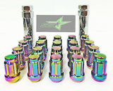 16 Neo Chrome Spline Tuner Racing Lug Nuts 12X1.5 |+2 Key Fits Hyundai Kia 4 Lug - Set Group USA - 12