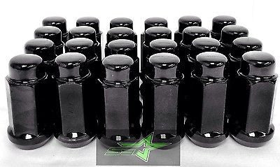 24 BLACK LUG NUTS | 14X1.5 | CHEVY GMC SILVERADO HUMMER | 6X5.5 + 6X139.7 6 LUG - Set Group USA - 1