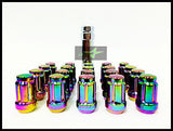 16 Neo Chrome Spline Tuner Racing Lug Nuts 12X1.5 | Fits Most Hyundai Kia 4 Lug - Set Group USA - 4