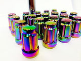 16 Neo Chrome Spline Tuner Racing Lug Nuts 12X1.5 | + Key Fits Most Honda Acura - Set Group USA - 3