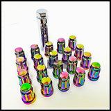 16 Neo Chrome Spline Tuner Racing Lug Nuts 12X1.5 | Fits Most Hyundai Kia 4 Lug - Set Group USA - 12