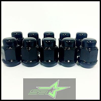 10 Black Lug Nuts 14X1.5 | Dodge Magnum Charger | Chevy Camaro 08+ Cts Wheel Nut - Set Group USA - 1
