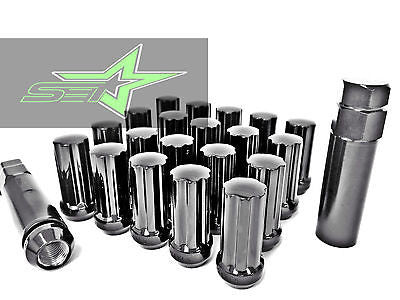24 Black Spline Lug Nuts Fits All 6 Lug Chevy Gmc 14X1.5 Trucks 6X5.5 | 6X139.7 - Set Group USA - 1