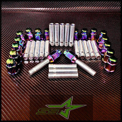 S.E.T Bmw Extended Stud Conversion Kit 12X1.5 | 57Mm | + 20 Neo Chrome Lug Nuts - Set Group USA