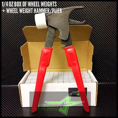 1 Box Of Wheel Weights + Hammer | 1/4 Oz (0.25) | Stick-On Tape | 156 Oz 624 Pcs - Set Group USA