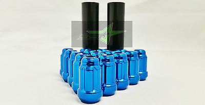 "24 Blue Spline Lug Nuts 1.38"" + 2 Keys 