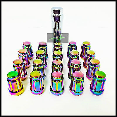 16 Neo Chrome Spline Tuner Racing Lug Nuts 12X1.5 | Fits Most Hyundai Kia 4 Lug - Set Group USA - 1