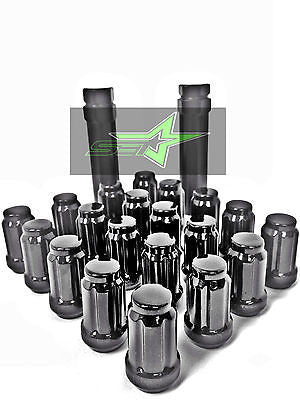 20 BLACK SPLINE TUNER RACING LUG NUTS +1 KEYS | 12X1.25 | SUBARU STI  BRZ FR-S - Set Group USA - 1
