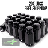 "20 Black Lug Nuts | 14X1.5 | Acorn Bulge Tapered Seat | 3/4 Hex | 1.9"" Inch Tall - Set Group USA - 1"