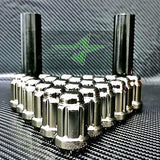 24 Black Chrome 6 Spline Lug Nuts +Key | 12X1.5 |Toyota Fj Tacoma Tundra 4Runner - Set Group USA - 1
