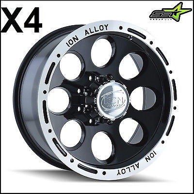 4 JEEP ION 174 BLACK WHEELS RIMS | 5X5 OR 5X127, -38 15X10 RUBICON, WRANGLER, JK - Set Group USA - 1