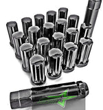 "20 Black 14X1.5 7 Spline Lug Nuts | Acorn Bulge Seat | + Key | 2"" Inch Tall 50Mm - Set Group USA - 1"