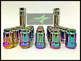 16 Neo Chrome Spline Tuner Racing Lug Nuts 12X1.5 |+2 Key Fits Hyundai Kia 4 Lug - Set Group USA - 2