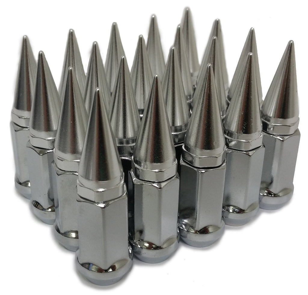 24 SILVER SPIKED EXTENDED LUG NUTS 14x1.5 SPIKE LUG NUTS - Set Group USA - 1