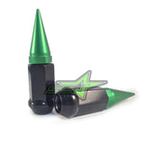 32 BLACK / GREEN SPIKED EXTENDED LUG NUTS 14x1.5 OFFROAD SPIKE LUG NUTS - Set Group USA - 2