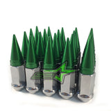 20 CHROME GREEN SPIKED EXTENDED LUG NUTS 1/2-20 SPIKE LUG NUTS - Set Group USA - 1