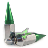 32 CHROME / GREEN SPIKED EXTENDED LUG NUTS 14x1.5 OFFROAD SPIKE LUG NUTS - Set Group USA - 2