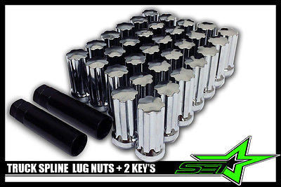 "32 CHROME SPLINE LUG NUTS + 2 KEYS | 9/16 | CHEVY, GMC, RAM, FORD | 2"" INCH TALL - Set Group USA"