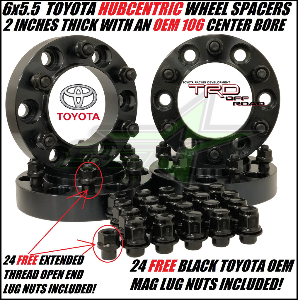 Toyota Wheel Spacers Hub Centric 6x5 5 2 Inch Thick +24 Free OEM Mag Lug  Nuts 106 Center bore 12x1 5 Studs FJ Cruiser, 4Runner, Tacoma, + more!