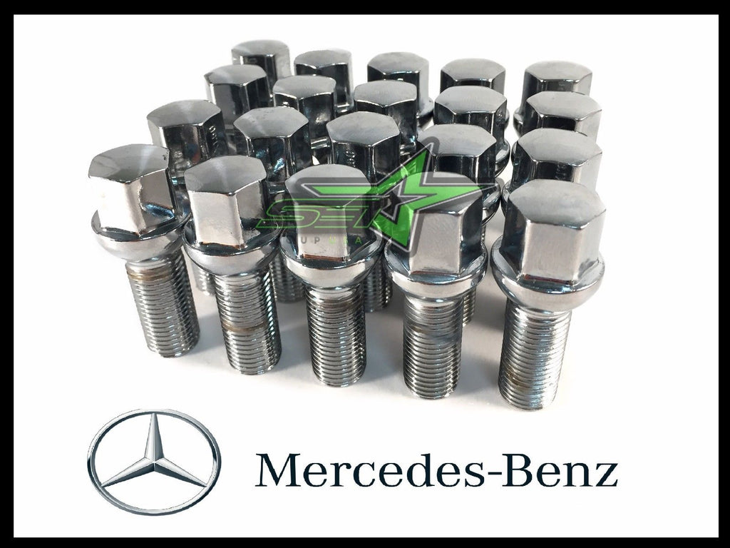 20PC 14x1.5 SILVER MERCEDES BENZ BALL SEAT LUG BOLTS | 40MM SHANK | OEM GRADE