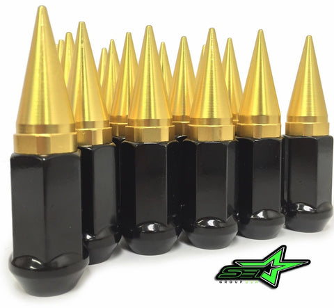 32 GOLD / BLACK SPIKED EXTENDED LUG NUTS 14x1.5 OFFROAD SPIKE LUG NUTS - Set Group USA