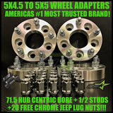 4X JEEP WHEEL ADAPTERS 5X4.5 TO 5X5 1.25 INCH THICK USED TO ADAPT JEEP JK WHEELS ON TJ YJ KK SJ XJ MJ