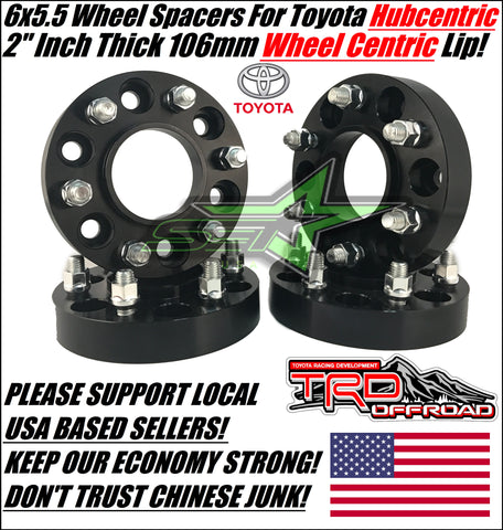 "4 Toyota Wheel Spacers Hubcentric 6X5.5 | 2"" Inch 106 Center bore 12x1.5 Studs 6x139.7 Fj Cruiser, Tacoma, 4Runner, Tundra"