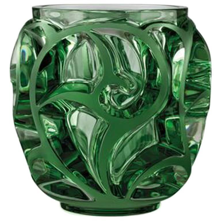 Lalique TOURBILLONS SMALL VASE GREEN CRYSTAL - china-cabinet.com