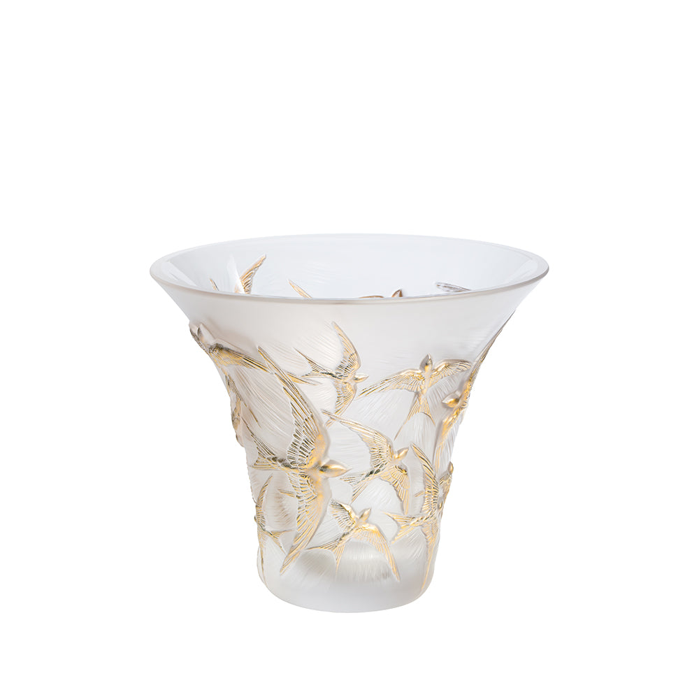 Lalique HIRONDELLES FLARED VASE 10624000 - china-cabinet.com