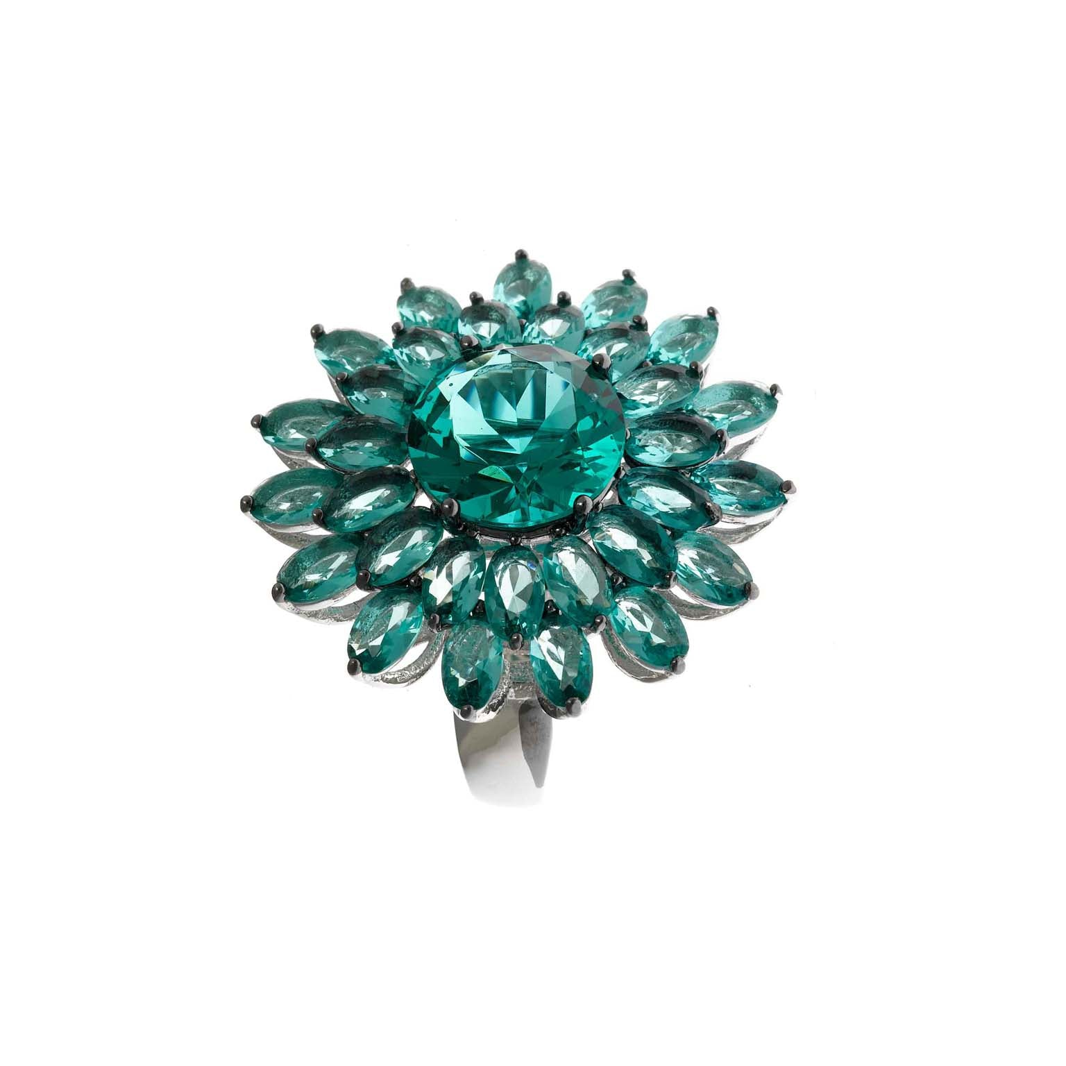 FLOWER STATEMENT RING WITH AQUAMARINE CRYSTALS - china-cabinet.com