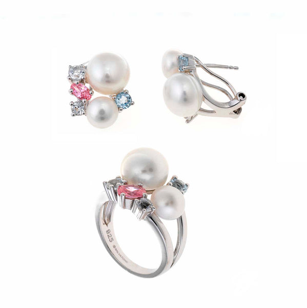 TWO BUTTON PEARLS WITH MULTI COLORED ZIRCONIA'S - china-cabinet.com