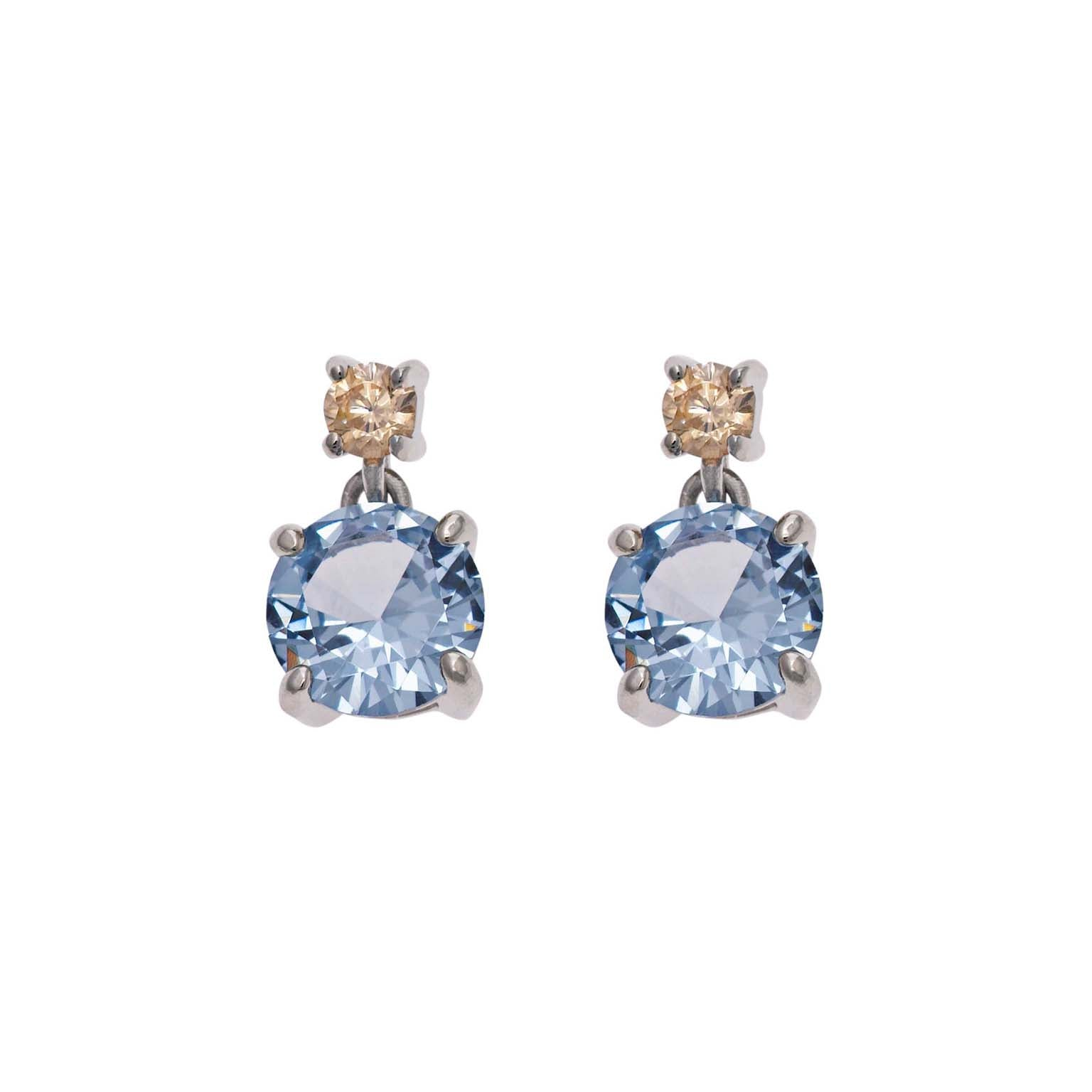 DROP EARRINGS WITH SKY BLUE & CHAMPAGNE SPINEL - china-cabinet.com