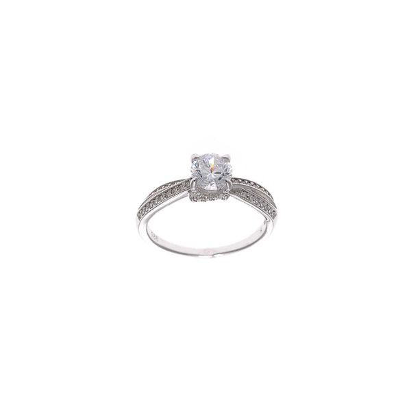 RING WITH DOUBLE ROW WHITE ZIRCONIA