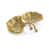 New Leaves Ginkgo Double Compartment Dish - china-cabinet.com