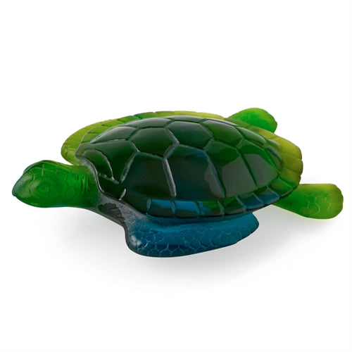 LARGE DAUM PATE DE VERRE SEA TURTLE GREEN - china-cabinet.com