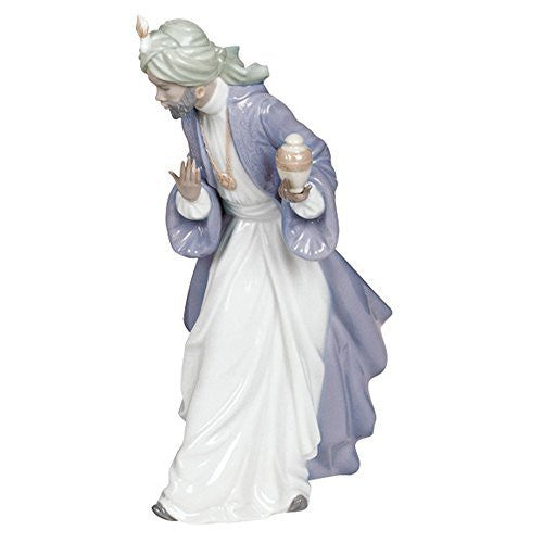 "Nao by Lladro Collectible Porcelain Figurine: KING BALTHASAR WITH JUG - 11-1/4"" tall - Nativity - china-cabinet.com"