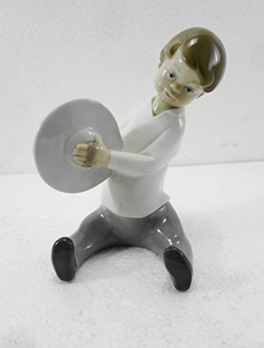 Lladro Boy W Cymbals Porcelain Figurine 4613 Glazed 5 Inches