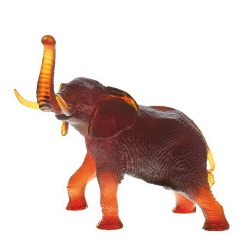 Daum Glass - Animal Sculptures - Large Amber Elephant - china-cabinet.com