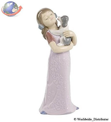 Nao Porcelain by Lladro PUPPY CUDDLES ( GIRL CUDDLING PUPPY DOG ) 2001535 - china-cabinet.com