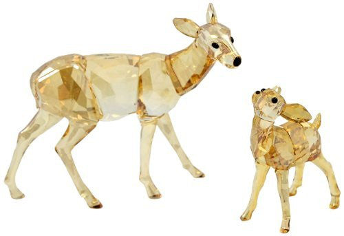 Swarovski Doe and Fawn Figurine, Crystal Golden Shadow - china-cabinet.com