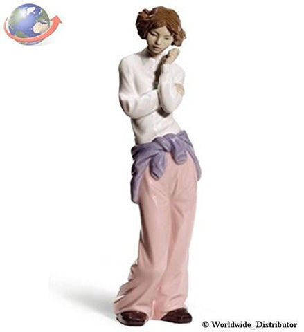 "Nao by Lladro Collectible Porcelain Figurine: HAVING A CHAT - 11 1/4"" tall - teenage girl talking on a cell phone..."