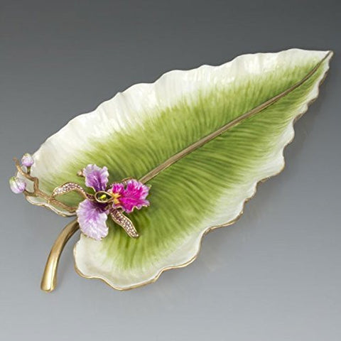 Jay Strongwater Brock Leaf & Orchid Tray with Stand