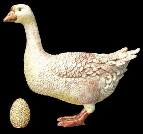Goose Figurine with Pavé Golden Egg