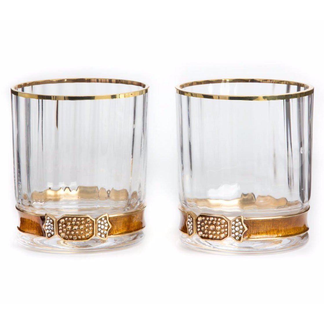Jay Strongwater Hudson Double Old Fashioned Glasses - Amber - china-cabinet.com