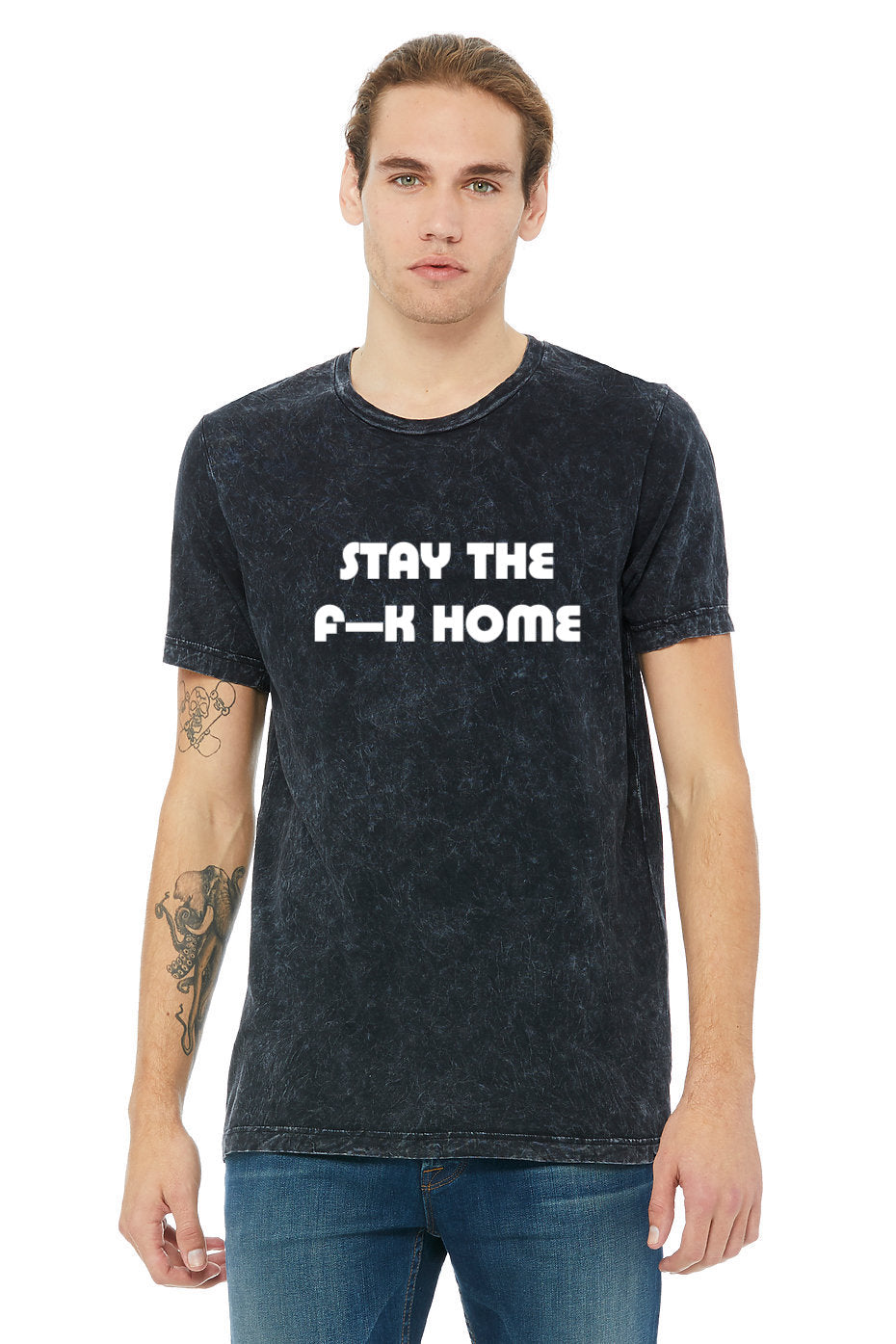 """STAY THE F--K HOME"" Mineral Wash Tee - Black - LADIES"